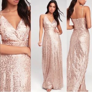 NWT Lulu's Champagne Sequin Maxi Dress - small